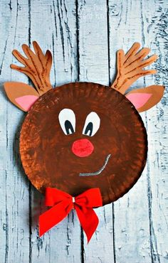 Rudolph Reindeer Paper Plate Craft - Easy Peasy and Fun. Christmas craft for kids. (paper crafts for kids easy) Paperplate Christmas Crafts, Christmas Arts And Crafts, Preschool Christmas, Christmas Activities, Craft Activities For Kids, Kids Christmas, Holiday Crafts, Funny Christmas, Daycare Crafts