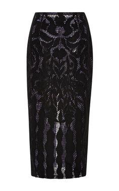 Black Lace Skirt by Wes Gordon for Preorder on Moda Operandi