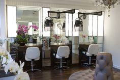 Floating hairdryers.... Love!!! Beautiful design, I want to own a salon like this one day.
