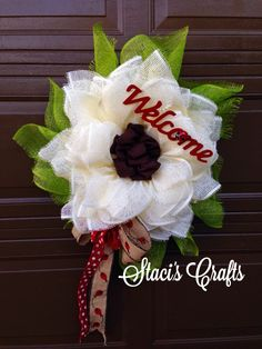 Cream Paper Mesh Sunflower with Welcome sign and lady bug accents