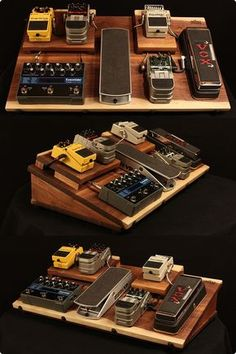 Walnut guitar effects pedal board...powered, shielded, with an on/off switch. Clean wiring too...