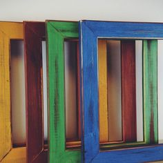 Custom Made Colorful Hand Painted Picture Frames - Milk Paint On Red Cedar