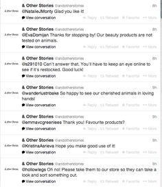 & Other Stories taking their Twitter interaction seriously, here you see a constant stream of replies.