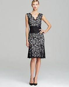 Tadashi Shoji Double V Neck Banded Dress - Sleeveless | Bloomingdale's
