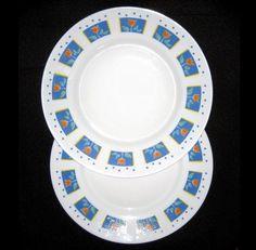 Arcopal 2 White Dinner Plates Tulips Blue Dots 9 3/4  Vintage Retired Nice #Arcopal & Mikasa Waverly 3 Dinner Plates 2 Salad Plates Black White Checks ...
