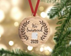 We survived 2020 pandemic christmas ornament. Two sides printed. Faux wood background. Made from durable wood which wont break, bend, crack, fade or peel.  Each ornament comes ready to hang with a red ribbon hanger. ------------------------------- ORDER PROCESS -------------------------------  1. Funny Christmas Ornaments, Wood Ornaments, Christmas Humor, Party Face Masks, Beer Wedding, Wedding Favors For Guests, Wedding Ideas, Wedding Coasters, Best Birthday Gifts