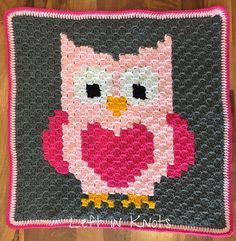 Owls, Foxes and Coons-Oh My! A FREE C2C crochet grid. #crochet #c2c #crochetforkids #babycrochet #crochetowl #crochetfox