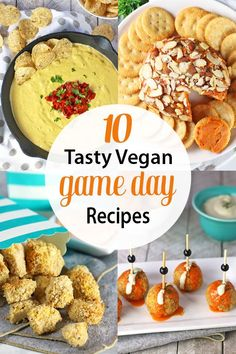 Game day is not only for sports, it's for eating! These delicious Vegan Game Day Snacks are perfect for vegans looking to enjoy tasty food to rival any omnivore fare! Healthy Superbowl Snacks, Football Snacks, Game Day Snacks, Healthy Vegan Snacks, Vegan Appetizers, Game Day Food, Vegetarian Recipes, Tailgating Recipes, Vegan Nutrition