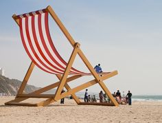 The World's Largest Deckchair Attraction World, Bournemouth Beach, Big Chair, Outdoor Chairs, Outdoor Decor, Roadside Attractions, Street Furniture, To Infinity And Beyond, Beach Chairs