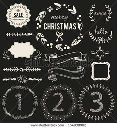Christmas Hand Drawn Vector Set: Design Elements and Page Decoration, Vintage Ribbon, Laurel, Label