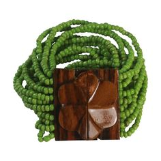 Green Beaded Bracelet Wood Closure Boho Hippie  offered by Ruby Lane Shop Splendors of the Past
