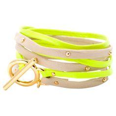 Lucia Wrap Bracelet in Nude + Neon
