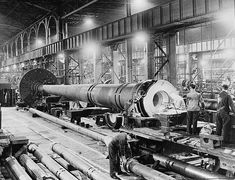 Boring out a barrel for a 16-inch Mark II rifle (aka gun barrel). These super-seeded the 16 inch guns in HMS Nelson and HMS Rodney; instead being destined for HMS Lion (which was never built).