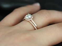 Rosados Box Bella 6mm and Barra Rose Gold Round FB Moissanite and Diamond Cushion Halo Wedding Set