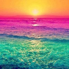 So beautiful!  color | color inspiration | colorful | ocean | sea | waves | sunset