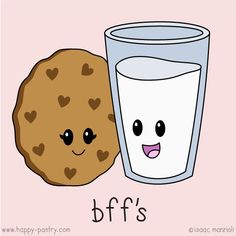"""While I'm not the biggest fan of saying """"BFF"""" - it has it's place. Cute Little Drawings, Cute Food Drawings, Bff Drawings, Kawaii Drawings, Milk Drawing, Cookie Drawing, Kawaii Cookies, Cute Cookies, Milk Cookies"""