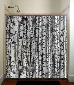 trunk forest white birch trees shower curtain bathroom decor fabric kids bath white black custom duvet cover rug mat window