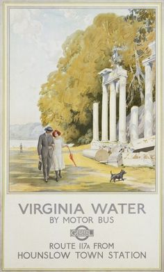 Virginia Water by Motor Bus Travel Poster by Frederick Pegram Bus Travel, Travel Posters, Dog Treats, Virginia, Water, Dogs, Artwork, Painting, Coach Tours