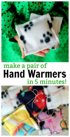 Here is a quick, easy, and cozy gift idea! 5 minute fleece hand warmers to put i. Here is a quick, easy, and cozy gift idea! 5 minute fleece hand warmers to put inside a jacket pocket. Fill with rice and warm in a microwave to heat . Easy Sewing Projects, Sewing Projects For Beginners, Sewing Hacks, Sewing Crafts, Craft Projects, Sewing Tips, Sewing Tutorials, Diy Crafts, Decor Crafts