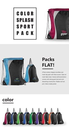 93fd35ca52b21 Color Splash Sport Pack - 2-Tone contour shaped microfiber and mesh day  pack with