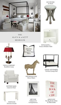 Black and white bedroom get the look luis bustamante Bedroom White Bedroom, Sweet Dreams, Oasis, Office Desk, Black And Grey, Bedrooms, Red, Furniture, Home Decor