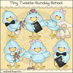 Tiny Tweets Sunday School 1- Whimsical Clip Art by Cheryl Seslar : Digi Web Studio, Clip Art, Printable Crafts & Digital Scrapbooking!