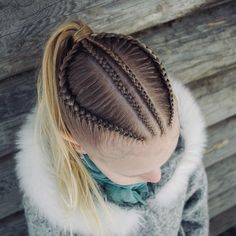 Cornrows into a ponytail . Cornrows into a pon Kids Braided Hairstyles, Cute Girls Hairstyles, Braided Ponytail, Cornrows Ponytail, Braid Hair, Curly Hair Styles, Natural Hair Styles, Braids For Kids, Toddler Hair