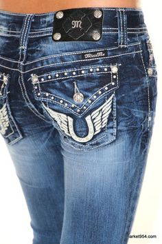 Horseshoe Wings Miss Me Jeans Leather Pockets Boot Cut Dark Wash Stretch Denim would match my cowgirl boots perfectly