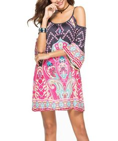 Look what I found on #zulily! Black & Fuchsia Arabesque Strappy Cold-Shoulder Swing Dress - Women #zulilyfinds