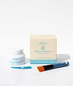 Moroccan Tangerine Clay Masque + Brush Kit – Artifact Skin Co. Argan Oil And Shea Butter, Grapefruit Seed Extract, Theobroma Cacao, Green Tea Extract, Brush Kit, Facial Masks, Moroccan, Moisturizer, Essential Oils