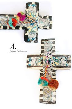 Handmade in Byron Bay by artist Jai Vasicek, these crosses are all individual 'one of a kind' pieces, unique and very beautiful. They look great hanging in a cluster or on their own. 15cm x 10cm