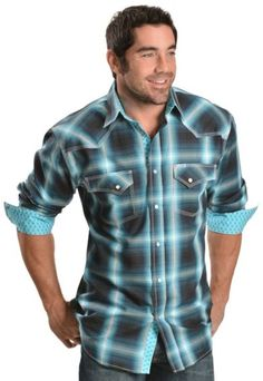 Red Ranch Blue & Teal Plaid Western Shirt - Sheplers