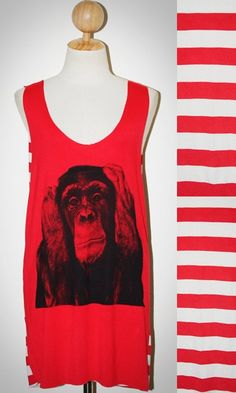 Chimpanzee Monkey Red and White Stripes Tunic Singlet Sleeveless Women Animal Art T-Shirt Size M