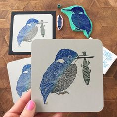"11.8k Likes, 71 Comments - Viktoria Åström (@viktoriaastrom) on Instagram: ""I've been printing Kingfisher cards for my Etsy shop. I've reopened my shop today and I have…"""