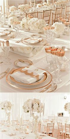 rose gold and ivory wedding reception decor The pic on top with the long low piece flanked by the two smaller side pieces is similar in scale to your design (photo from OneWed) (Long Top Design)
