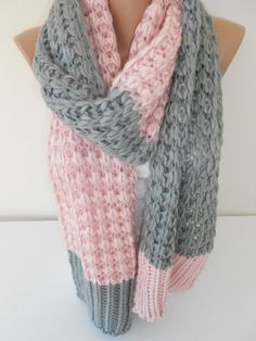 Knit Scarf Muffler Scarf Pink and Gray Knitting Scarf by ScarfClub