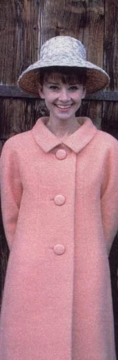 Audrey in 1960s pink coat wool mod straw hat movie star model photo print