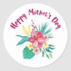 Pretty Floral Wreath Happy Mother's Day Classic Round Sticker   Zazzle.com Mothers Day Baskets, Mothers Day Gifts From Daughter, Mothers Day Crafts For Kids, Fathers Day Crafts, Mothers Day Cards, Happy Mothers Day, Mothers Day Classic, Educational Crafts, Educational Websites