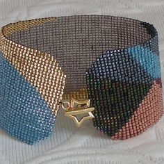 Abstract, beadwoven bracelet