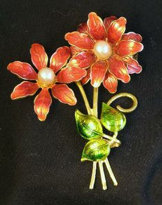 Signed Made in Germany Pointsettia Flower Bouquet Brooch