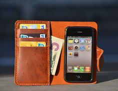 Free shippingHandstitched Brown Cow Leather Iphone by annebaby, $45.00