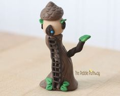 Gnome Home, Fairy House, polymer clay miniature acorn tree house with ladder