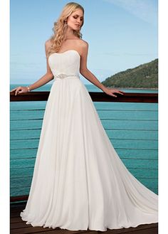 Elegant A-line Chaple Chiffon Wedding Dress For Your Beach Wedding