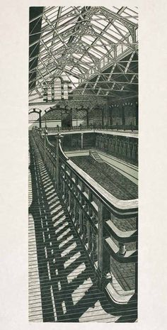 Anne Desmet, Deserted Pool VBM Edition: 30 2-colour reduction linocut  60 x 20.5 cm/ 23.5 x 8 ins  £790 Prints from this edition are in the collections of the Whitworth Art Gallery, Manchester;  the Ashmolean Museum, Oxford.