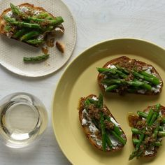 Dried porcini give this vinaigrette a huge boost of flavor and marry beautifully with the asparagus and goat cheese for a spring-like first course. Serve this dish with sharp knives (like steak knives) so the toast and asparagus cut easily. For more seasonal recipes, download the free Gourmet Live app and stay tuned to the Gourmet Live blog for the latest updates.