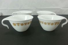 Vintage Corelle Butterfly Gold Coffee Cups Set Of 4 Livingware Corning #CorelleLivingwareCorning