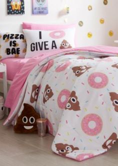 Create a space that tells your story with this trendy comforter set. Designed with funky donut and poo emoji patterns, this cozy bedding set fits a full sized bed.