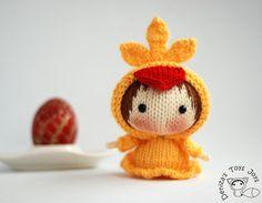 Yellow Chicken Doll. Easter Doll.  - pdf knitting pattern. Tanoshi series toy.