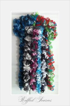 Beautiful Ruffled Scarves  Delicate crochet yarn knitted to fold in layers of beautiful ruffles.