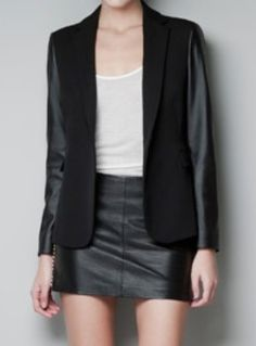 Black Contrast PU Leather Long Sleeve Suit